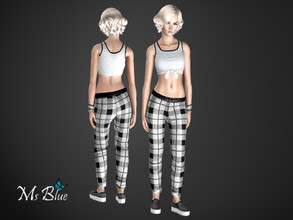 Sims 3 — Monochrome Set by Ms_Blue — Set with crop top, joggers and trainers. For a fashionable casual look when going