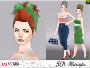 Sims 3 — curbs 50s hairstyles05v2 by Colores_Urbanos — retro hairstyle for teens and young adults. From Paraguay with