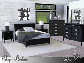 Sims 3 — Ebony Bedroom *Request* by Lulu265 — An elegant bedroom in Black and White, and for those of you that prefer the