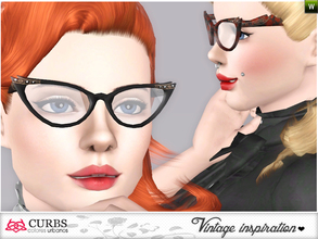 Sims 3 — Curbs Cat Eye Glasses 01 by Colores_Urbanos — retro inspiration. cat eyes glasses for teens and young adults.
