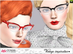 Sims 3 — Curbs Cat Eye Glasses 02 by Colores_Urbanos — retro inspiration. cat eyes glasses for teens and young adults.