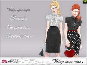 Sims 3 — Set vintage office outfits 01 by Colores_Urbanos — retro inspiration in this set, hairstyle, 2 cat eyes glasses
