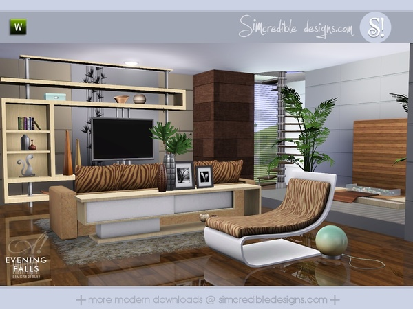 Simcredible 39 s evening falls for Living room ideas sims 3
