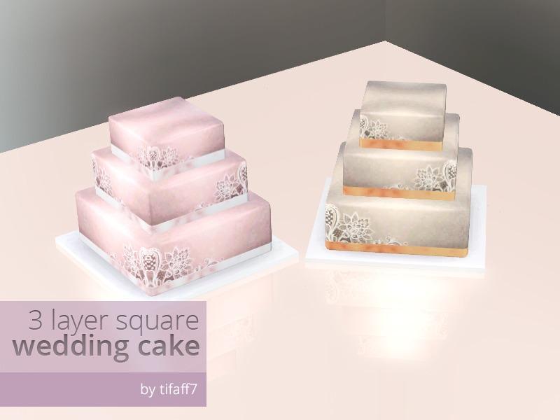 Tifaff7 S 3 Layers Square Wedding Cake