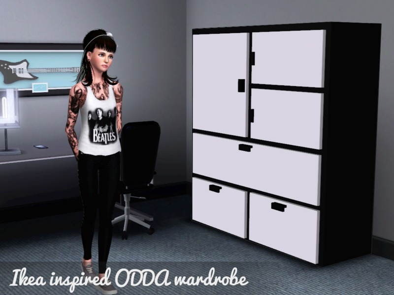 Jugendzimmer Komplett Günstig Kaufen Ikea ~ Details About Ikea Odda Kleiderschrank Schrank Schwarz Weiß Schrank