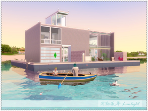 Sims 3 — Floating Garden Houseboat by Lunlight2 — A fascinating houseboat with green spaces, which has a garage for boat,
