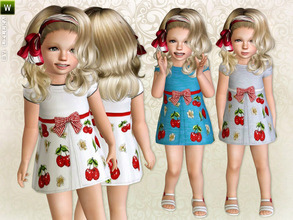 Sims 3 — Toddler Cherry Print Dress by lillka — Cherry Print Dress inspired by Monnalisa Everyday/Formal 3