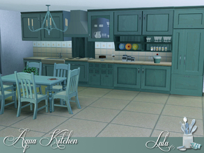Sims 3 — Aqua Kitchen by Lulu265 — A versatile kitchen, made up of various counters and cabinets , a sink , a stove and a