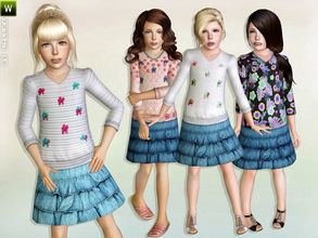 Sims 3 — Flower meets Denim by lillka — Flower meets Denim Outfit Everyday/Formal 4 styles/recolorable I hope you like it