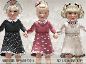 Sims 3 — Vintage Dress No 1 by Lutetia — A cute longsleeved dress with lace details Works for female toddlers For