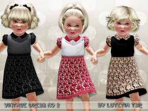 Sims 3 — Vintage Dress No 2 by Lutetia — A cute laced dress with collar and short puffy sleeves Works for female toddlers