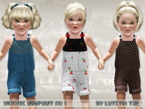 Sims 3 — Vintage Jumpsuit No 1 by Lutetia — A cute vintage inspired jumpsuit with small bows Works for female toddlers
