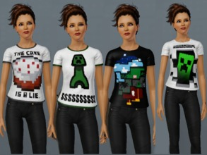 Sims 3 — Minecraft T-Shirts For Women by amybabe18 — 4 Minecraft T-Shirts for Young Adult, and Adult women. These can be