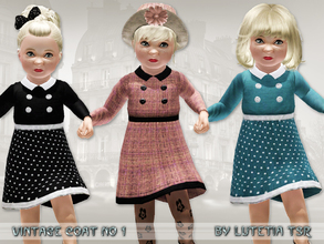 Sims 3 — Vintage Coat No 1 by Lutetia — A cute vintage inspired trenchcoat with collar and buttons Works for female