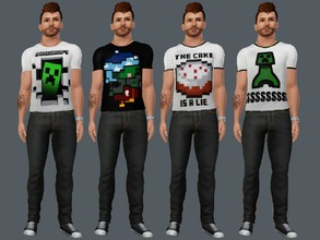 Sims 3 — Minecraft T-Shirts For Men by amybabe18 — 4 Minecraft T-Shirts for Young Adult, and Adult men. These can be