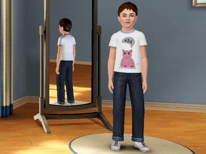 Sims 3 — Pigs say Oink - Male by amybabe18 — Pigs say Oink T-Shirt for male children. You will find this under everyday,