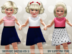 Sims 3 — Vintage Dress No 3 by Lutetia — A cute vintage inspired sleeveless dress with skirt pockets and buttons on the