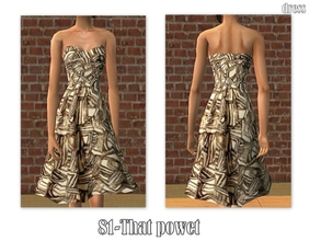 Sims 2 — 81-That power - single brown dress by Well_sims — Beautiful brown dress for your sim. -Single brown dress