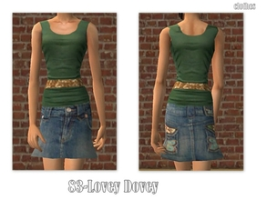 Sims 2 — 83-Lovey Dovey by Well_sims — Beautiful green undershirt with denim skirt for your sim.