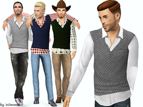Sims 3 — Casual Look -Shirt with sweater vest by Wimmie — A new casual shirt with sweater vest for your ya/adult males.