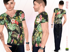 Sims 3 — Tropical Print Male Top by Simsimay — Tropical print male tshirts are very popular these days! Everybody loves