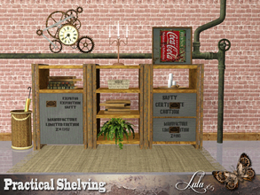 Sims 3 — Practical Shelving by Lulu265 — A lot of rust , a touch of steampunk makes up this set of shelves, for a small