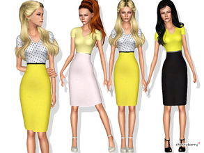 Sims 3 — Monday blues by CherryBerrySim — Fashionable office themed outfit for YA/A female sims! Dress includes a
