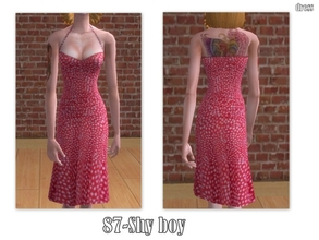 Sims 2 — 87-Shy boy - pink dress with white dots  by Well_sims — Beautiful pink dress with white dots for your sim. I