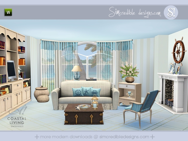 Simcredible39s coastal living for Sims 3 living room sets