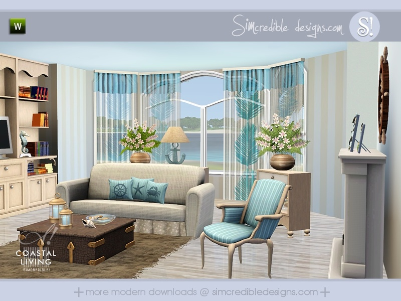 Simcredible 39 s coastal living for Living room ideas sims 3