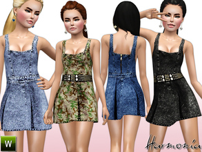 Sims 3 — TEEN ~ Denim Overall Skater Dress by Harmonia — Custom Mesh By Harmonia 4 Variations. Recolorable