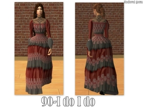 Sims 2 — 90-I do I do - medieval gown by Well_sims — Beautiful dark red and grey medieval gown for your sim. -Single gown