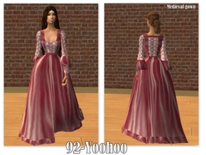 Sims 2 — 92-Yoohoo - medieval pink gown by Well_sims — Beautiful pink medieval gown for your sim. -Single medieval pink