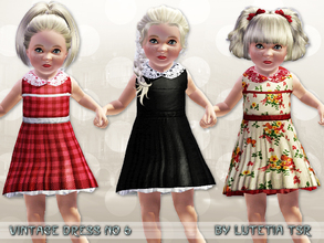 Sims 3 — Vintage Dress No 6 by Lutetia — A cute vintage inspired sleeveless dress with underskirt and laced collar ~