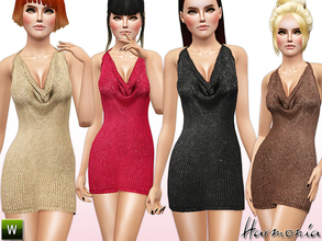 Sims 3 — Draped Woven Metallic Dress by Harmonia — The of-the-moment midi goes luxe with a kiss of knit.. This silhouette