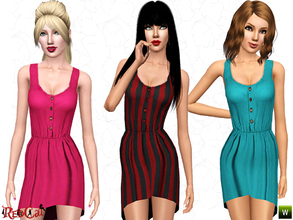 Sims 3 — Casual Mullet Dress by RedCat — 2 Recolorable Channels. 3 Variations Included. Mesh by RedCat.
