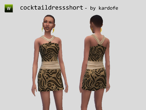 Sims 4 — kar_cocktaildressshort_arabesque by kardofe — Cocktail dress with abstract print and fajin