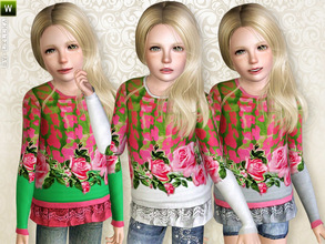 Sims 3 — Printed Long Sleeve Shirt by lillka — Printed Long Sleeve Shirt with Lace Flounces inspired by Miss Blumarine