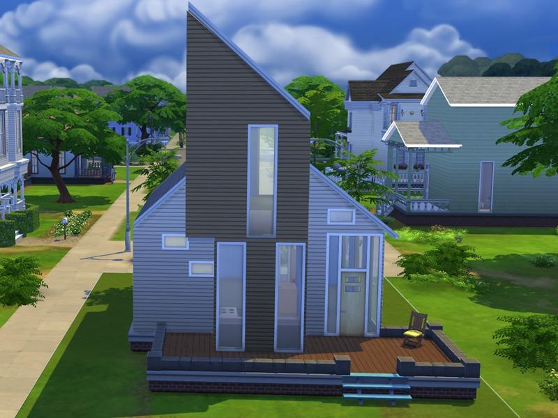 Alexandra sine 39 s modern starter house for Simple modern house sims 4