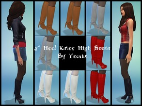 Sims 4 — Five Inch Heel Knee High Boots - Plain White by Yecats2 — These hot five inch heeled knee high boots are perfect