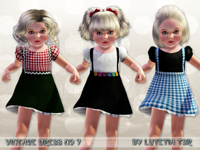 Sims 3 — Vintage Dress No 7 by Lutetia — A cute vintage inspired dress with suspenders, underskirt and puffy blouse ~