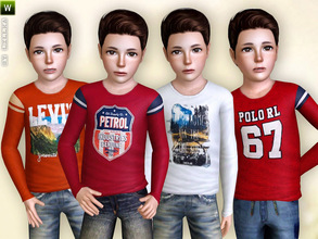 Sims 3 — Long Sleeve Shirt 02 by lillka — Boy shirt with long sleeves and fancy print on the chest