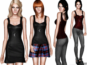 Sims 3 — Fashion Set 14 by zodapop — Fashion set for fall featuring a plaid skirt, wool leggings, a leather dress, and a