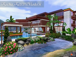 Sims 3 — Racha Retro Modern by autaki — Retro Modern styles. Modern House for your simmies. Decor write color style.