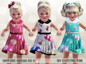 Sims 3 — Vintage Dress No 8 by Lutetia — A cute vintage inspired dress with balloon print, underskirt and collar ~ Works