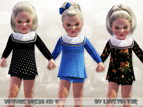 Sims 3 — Vintage Dress No 9 by Lutetia — A cute vintage inspired longsleeved minidress with a big laced collar and short