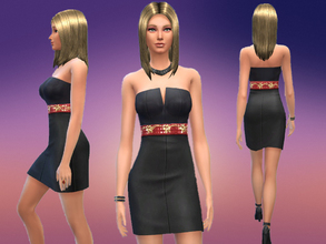 Sims 4 — Elegant Black Dress by Canelline — A simple but elegant non default dress with red and gold belt. It was my
