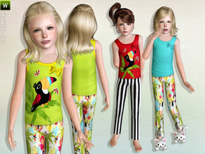 Sims 3 — Girls Safari Pyjama by lillka — Safari pyjama for girls - Outfit 3 styles/recolorable Mesh by Tomislaw I hope