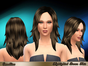 Sims 4 — Highlighted Brown Hair by Canelline — A retexture and recolor for this long hair, for a more natural and actual