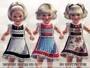 Sims 3 — Vintage Dress No 11 by Lutetia — A cute vintage inspired apron dress with pockets, underskirt and lace details ~